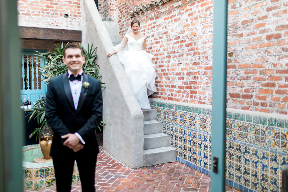 first look with bride and groom in casa feliz, winter park, fl