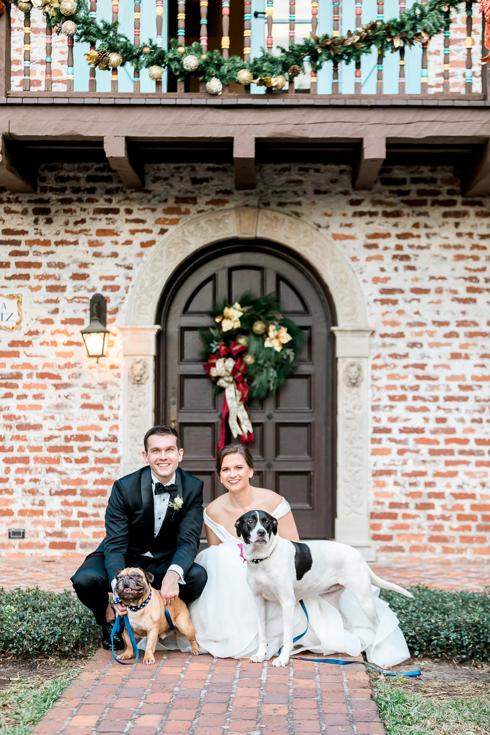 bride and groom with their pets after the wedding ceremony