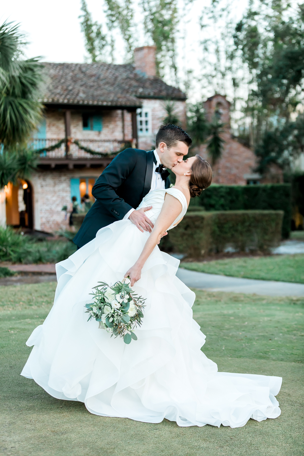 first kiss after getting martried in casa feliz, winter park, fl