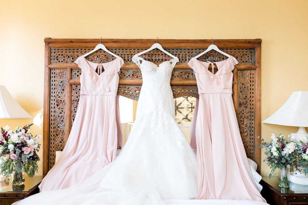 wedding dress and flowers in casa monica hotel
