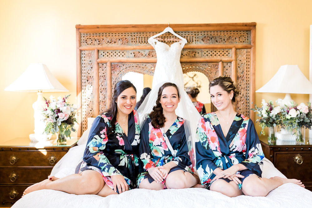 bride and bridal party getting ready