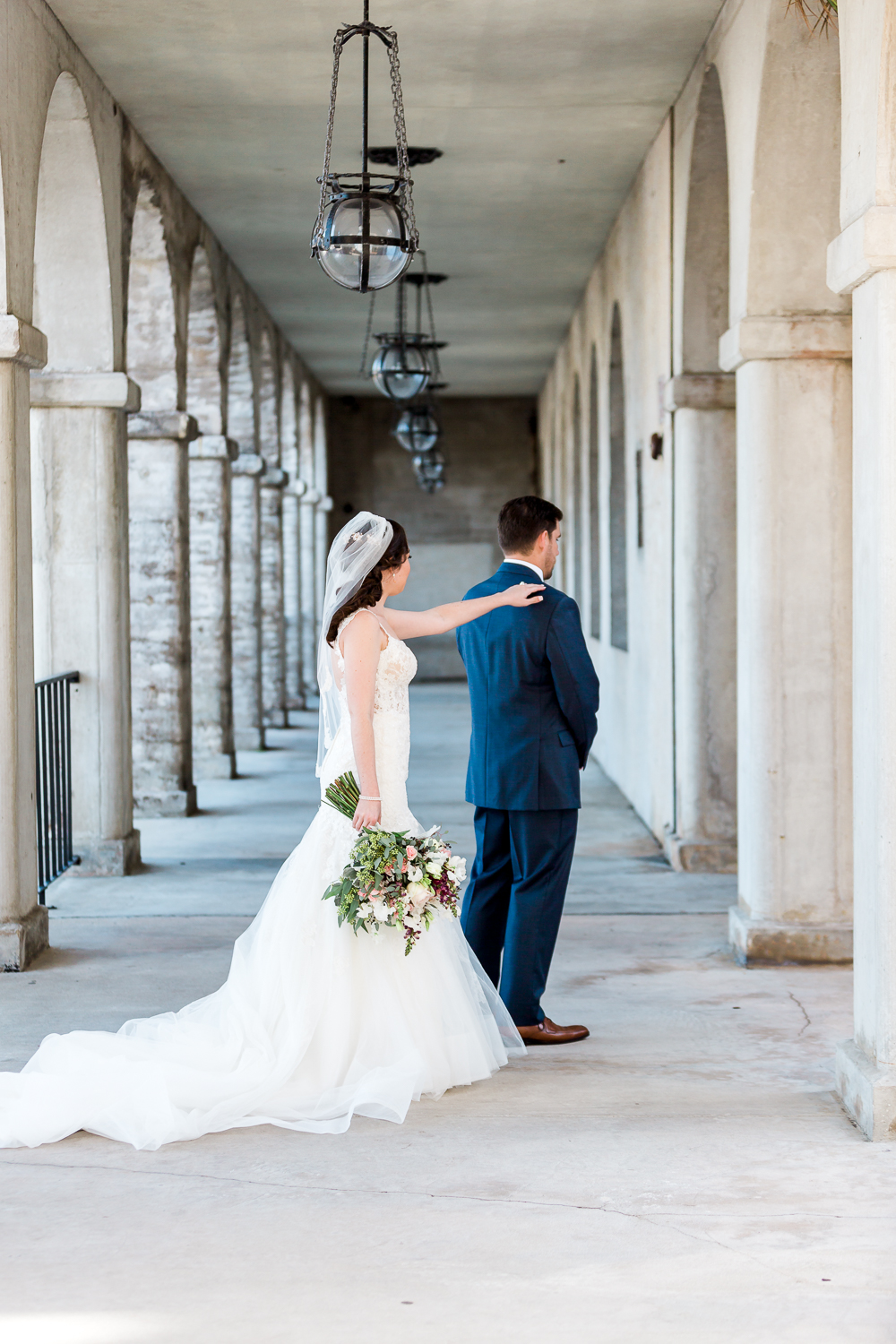 Bride and groom's first look at the Lightner Museum, St.Augustine