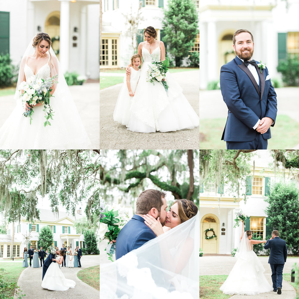 The Ribault Club wedding in Jacksonville, FL. Wedding day picture and posing ideas. Southern wedding under the moss trees.
