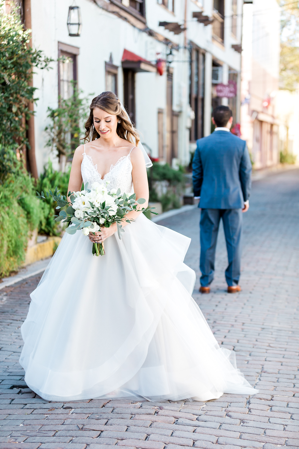 Bride and groom's first look in St.Augustine