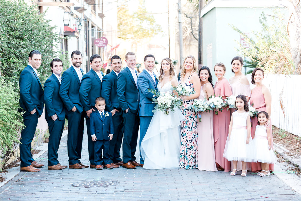 Bride and groom with their bridal party in the streets of St.Augustine