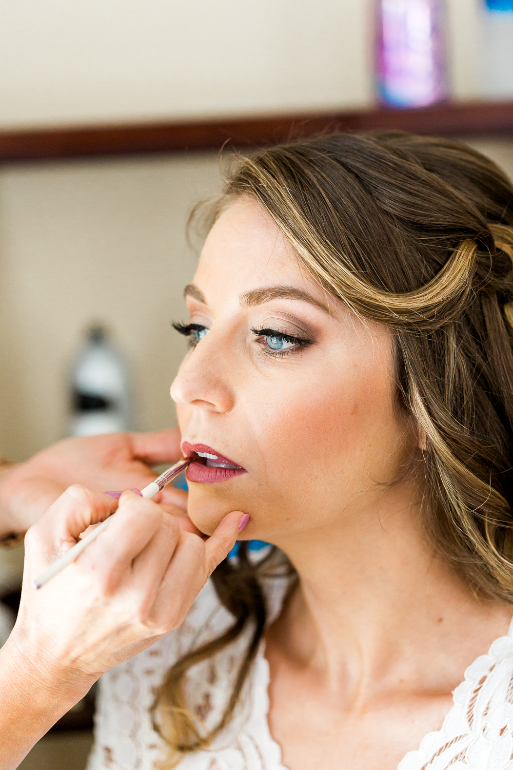 Bride getting ready for Villa Blanca wedding