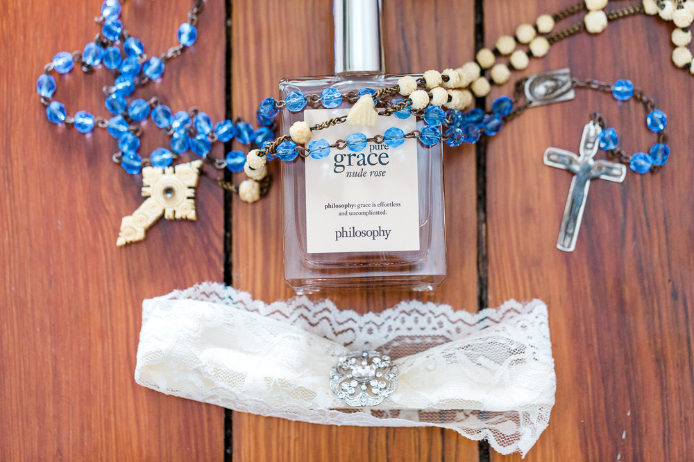 "Bride's garter, perfume and ""something old"""