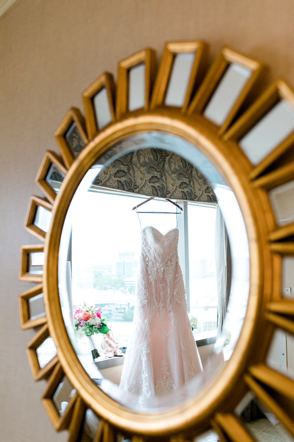Bride's wedding dress in Omni downtown Jacksonville