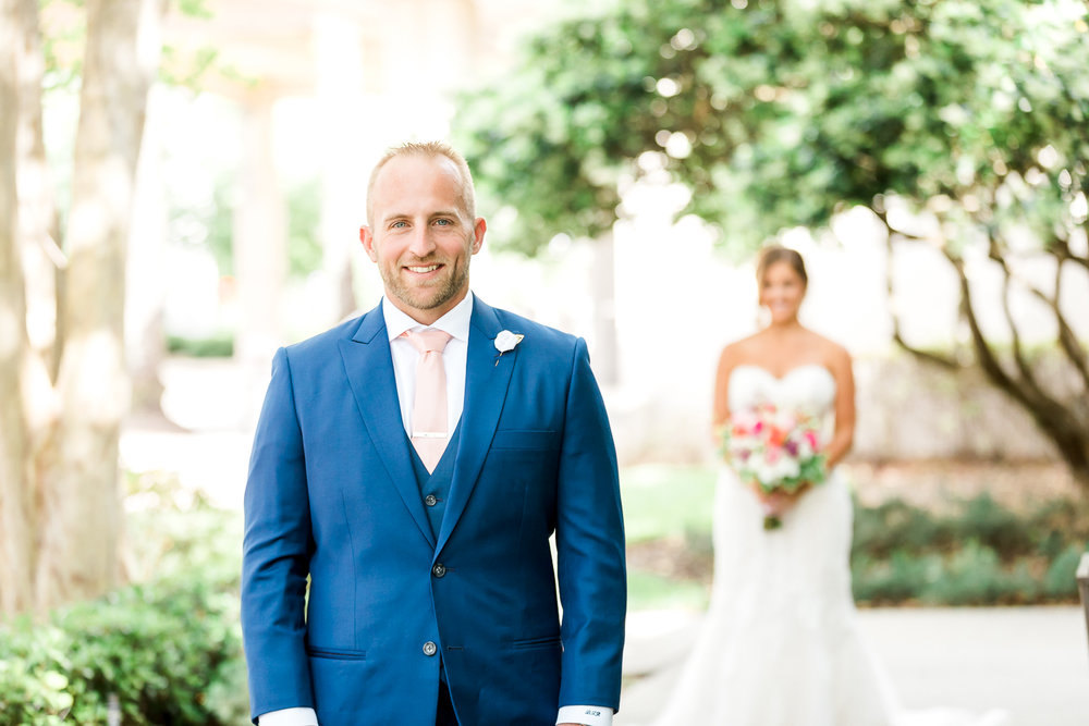 Bride and groom's first look in Jacksonville, FL