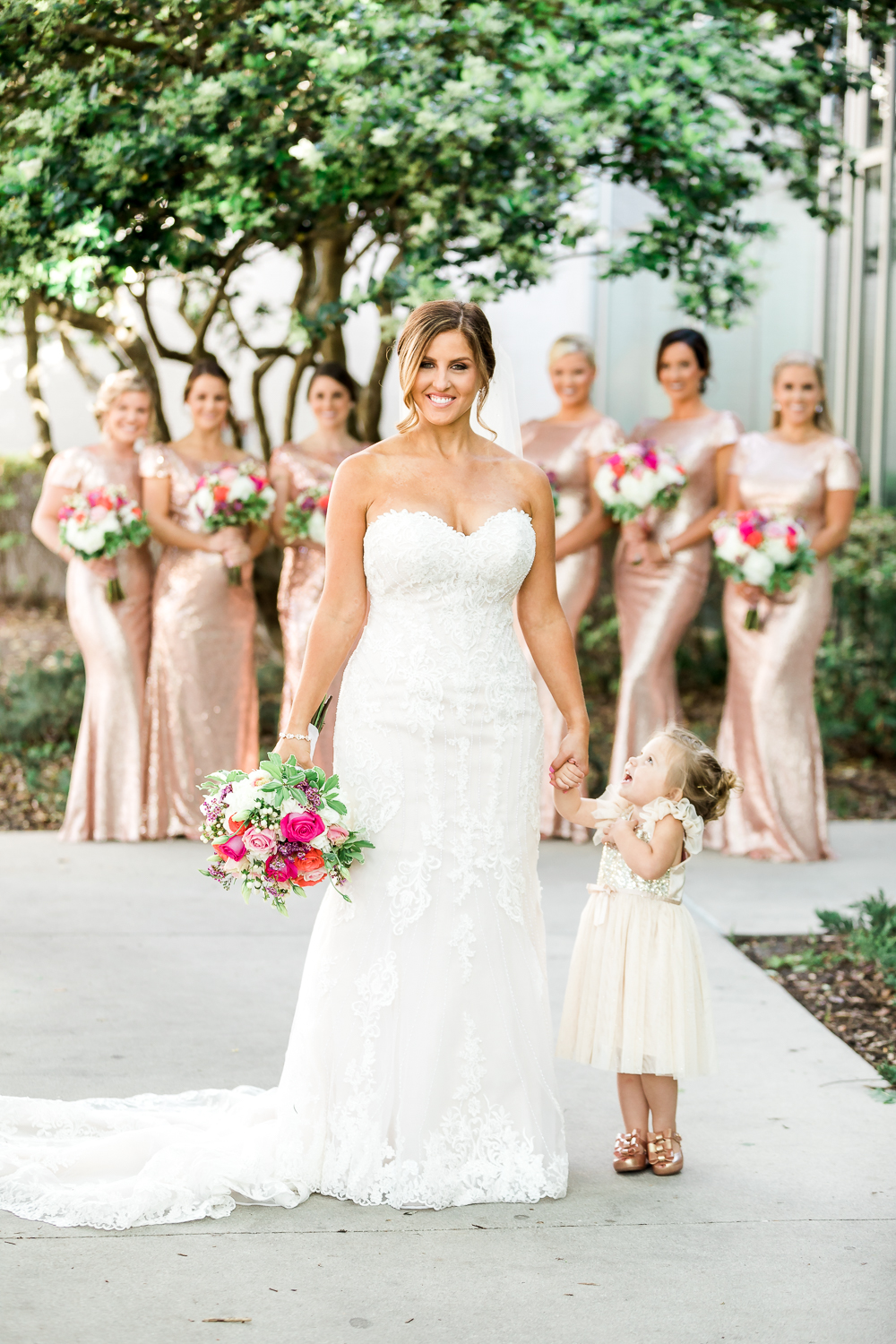 Bride with her bridal party in Florida Yacht club wedding in Jacksonville, FL