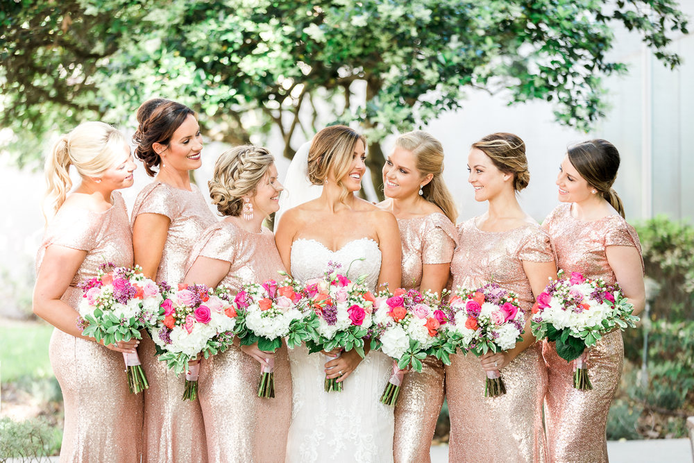 Bridal party in rose gold sequin dresses