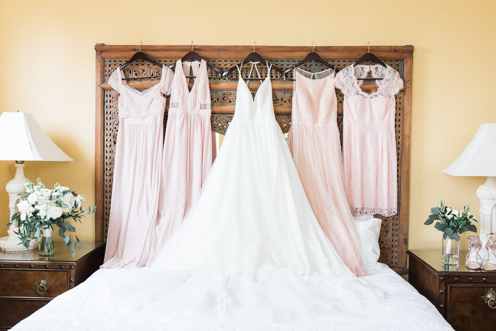 Bride's wedding dress and bridesmaids dresses