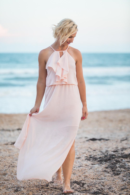 Blush pink maxi dress - size XS/S