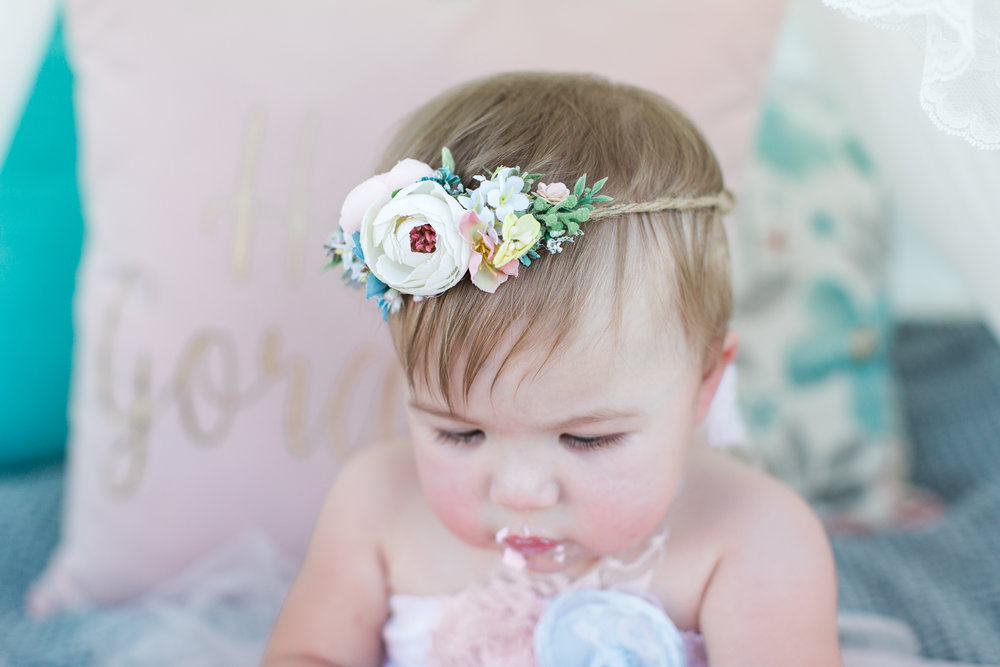 Floral headband - sizeable to 6months - 7T