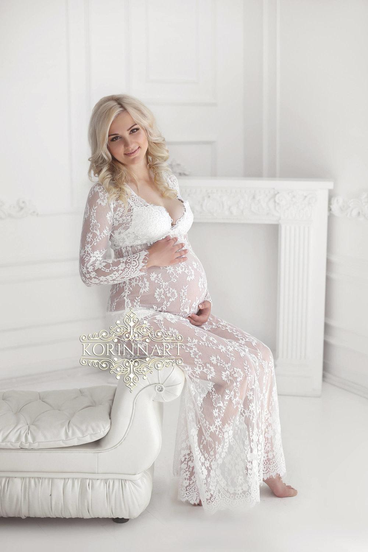 White lace maxi maternity dress - size S/M
