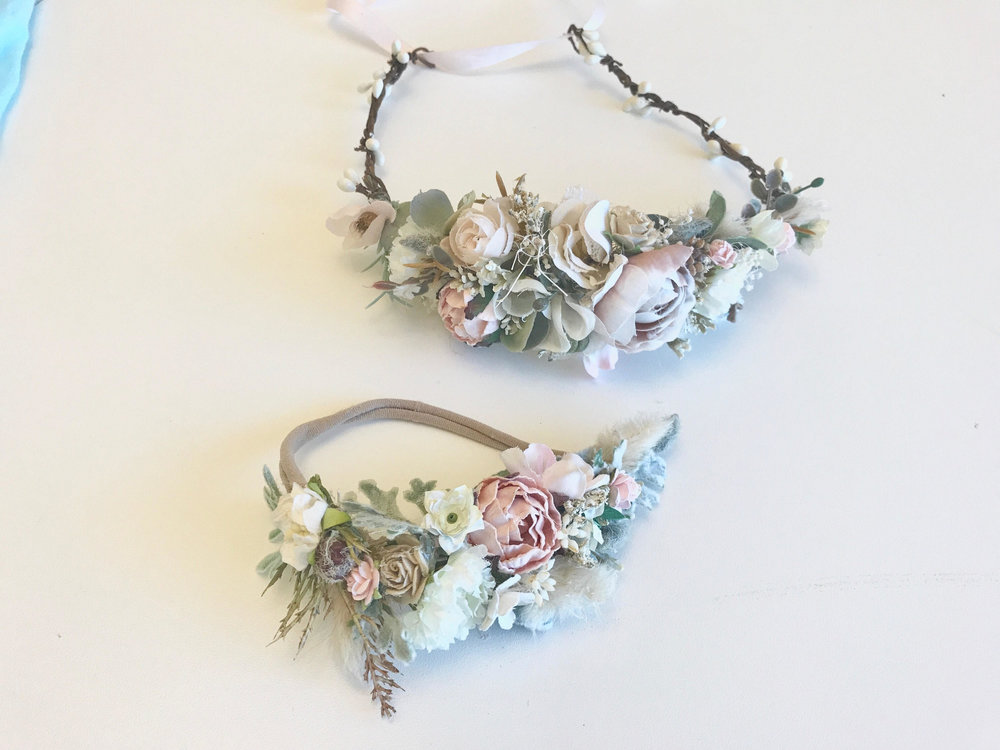 Custom made matching mommy & me floral headpieces