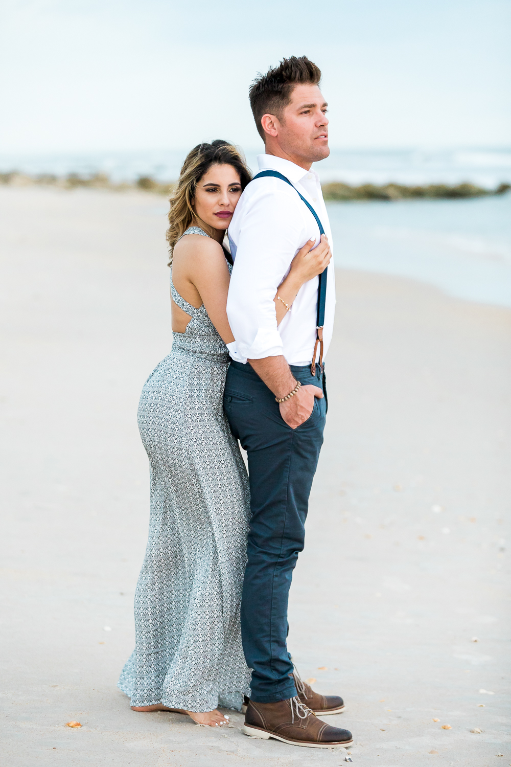 romantic couple beach engagement session in st.augustine fl