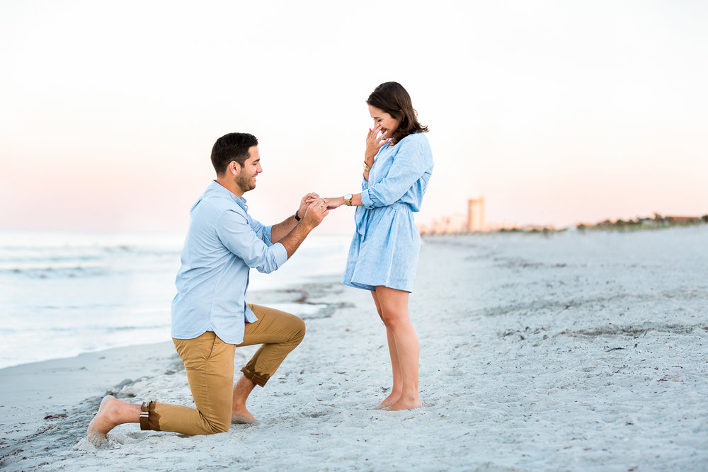 sunset surprise proposal in jacksonville beach + outfit ideas for couples