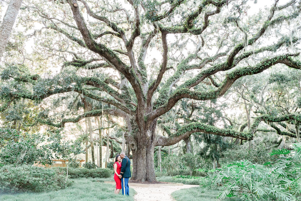 washington oaks gardens romantic engagement session with military uniform + posing ideas for couples
