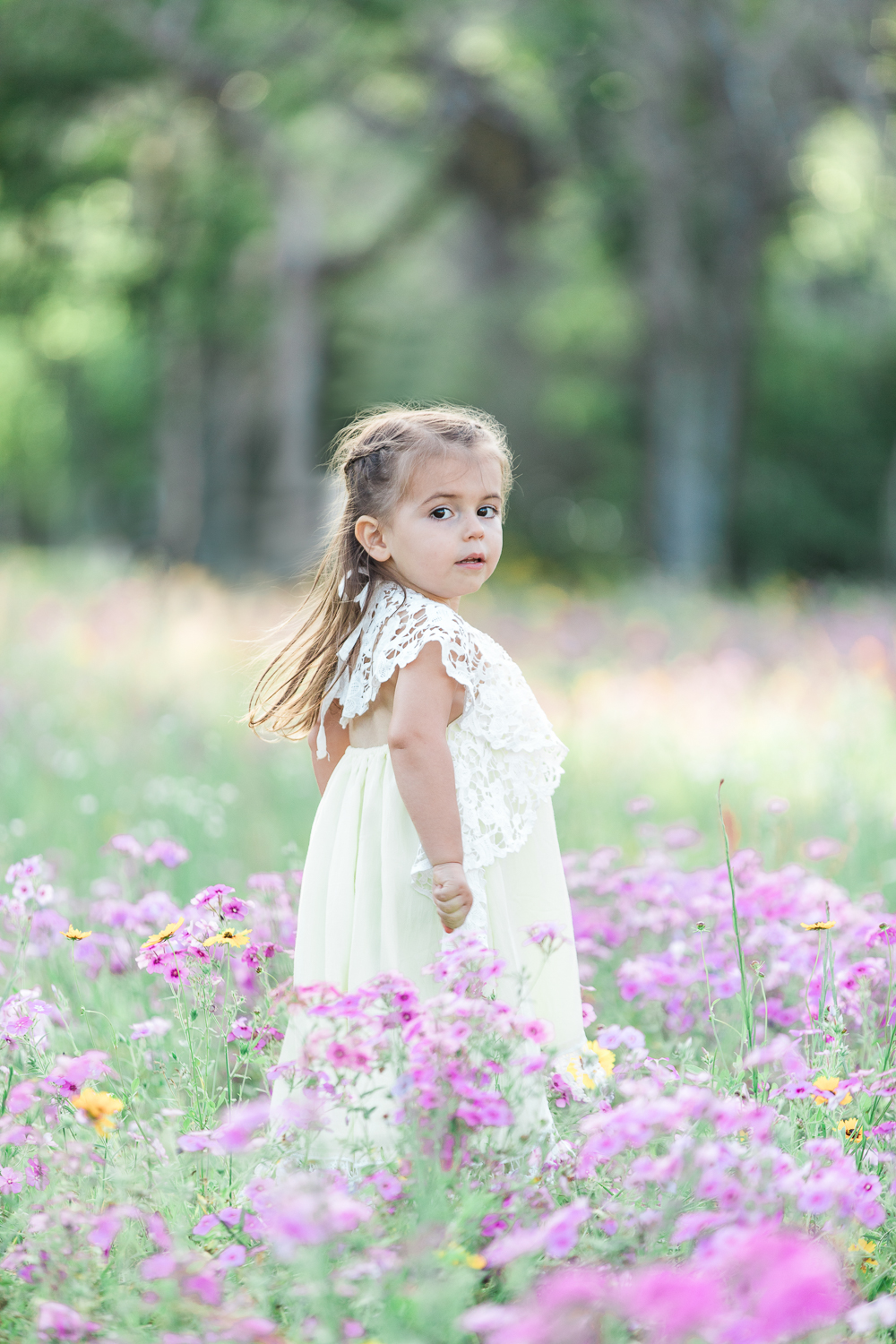 flower field family photoshoot with a little girl in yellow dollcake dress