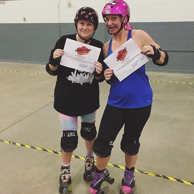 Huge congrats to these ladies!! Mia Kougar and Trikki Sixx have graduated Fresh Meat! 👊🏻💙#wiregrasswreckers #dothanrollerderby #vetstatus #rollerderby #wiregrass #DothanAL #EnterpriseAL #ozarkal #2017 #wreckem