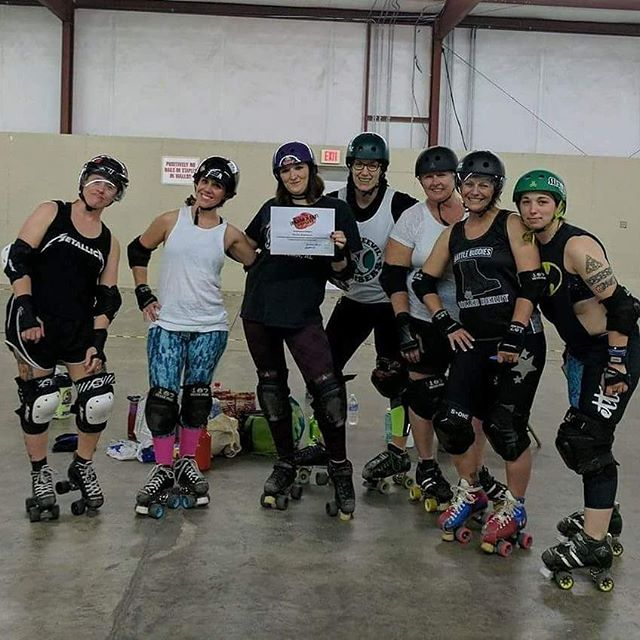 Congratulations to our Rushin! Another FreshMeat has jumped into the grinder!  #dothanrollerderby #wiregrasswreckers #freshmeatgraduate #rollerderbylife #freshmeatlife #derbygirls