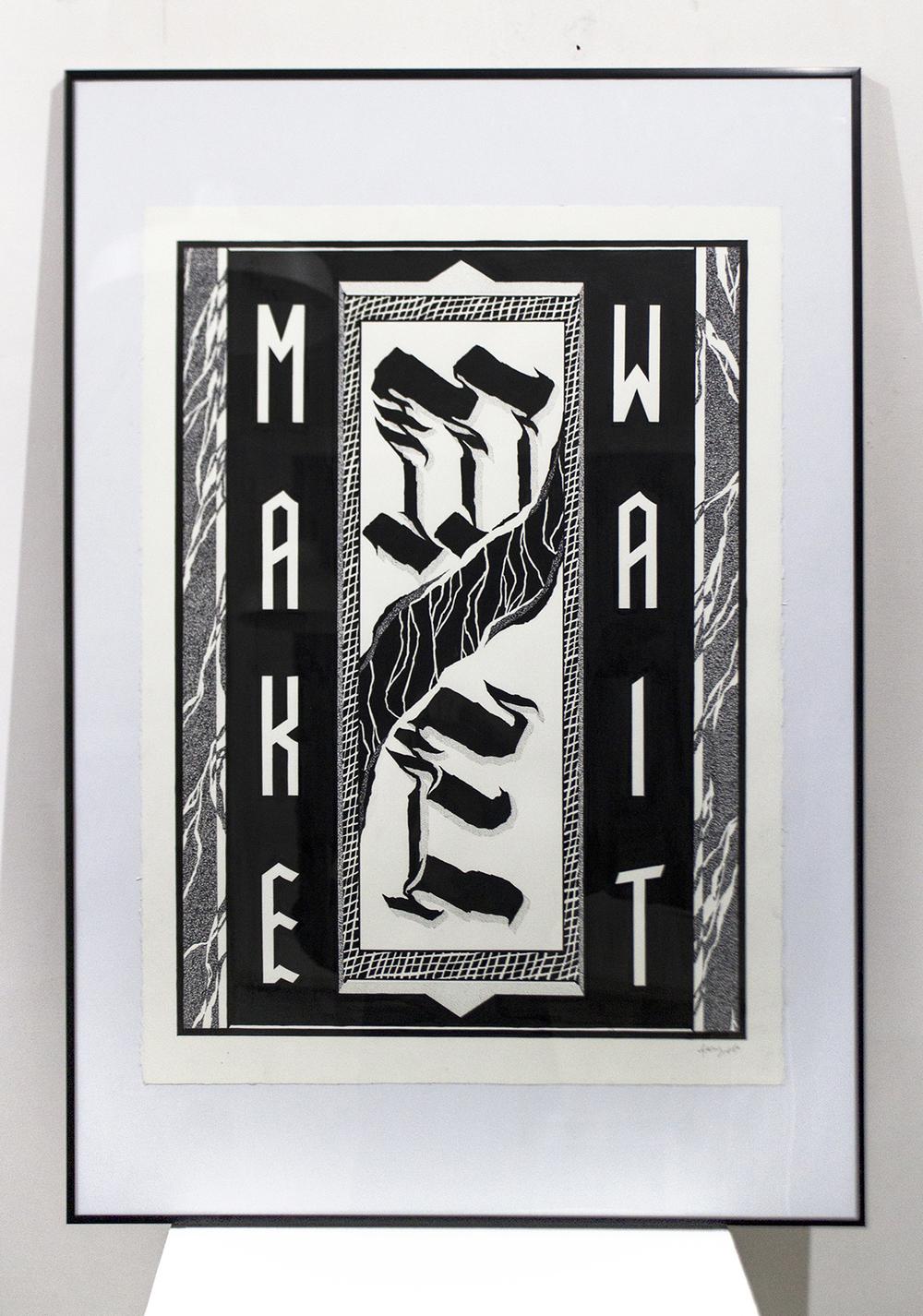 'Make Me Wait', Ink on Archers Watercolour