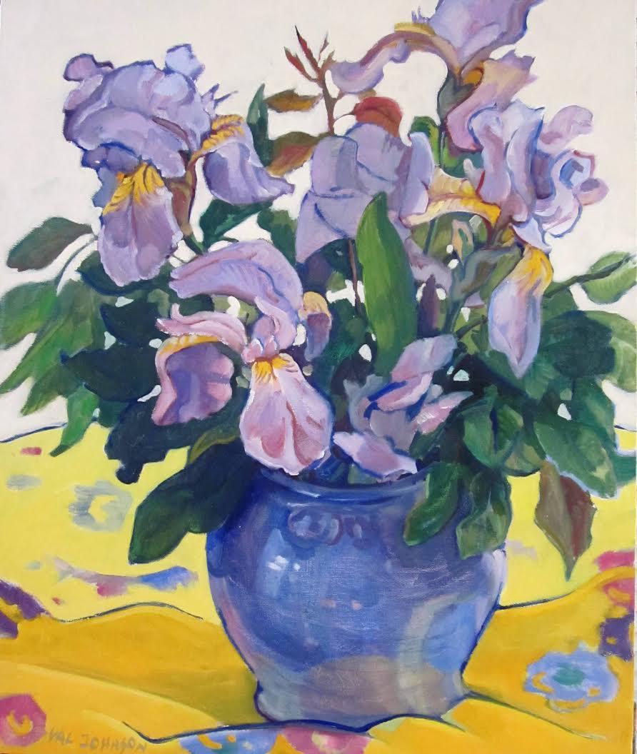 Iris in a Blue Vase
