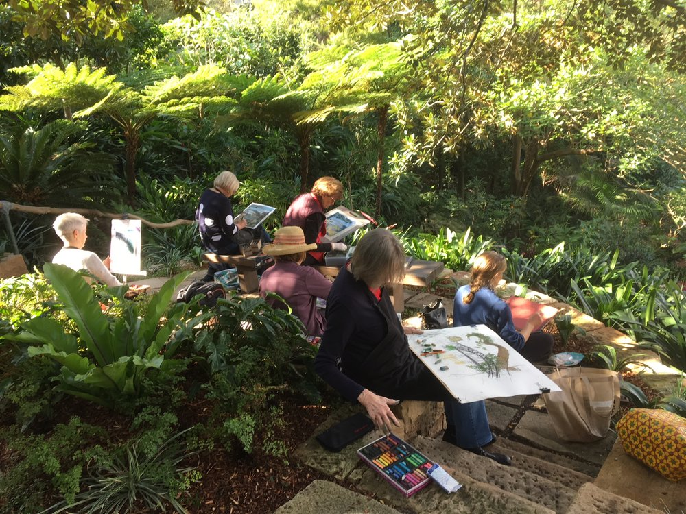 Some of the pastel group in Wendy's garden.JPG