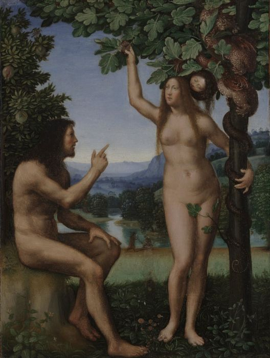 Mariotto Albertinelli, The Temptation of Adam and Eve, 1509-13, 43.815cm x 34.29cm. Yale University Art Gallery.