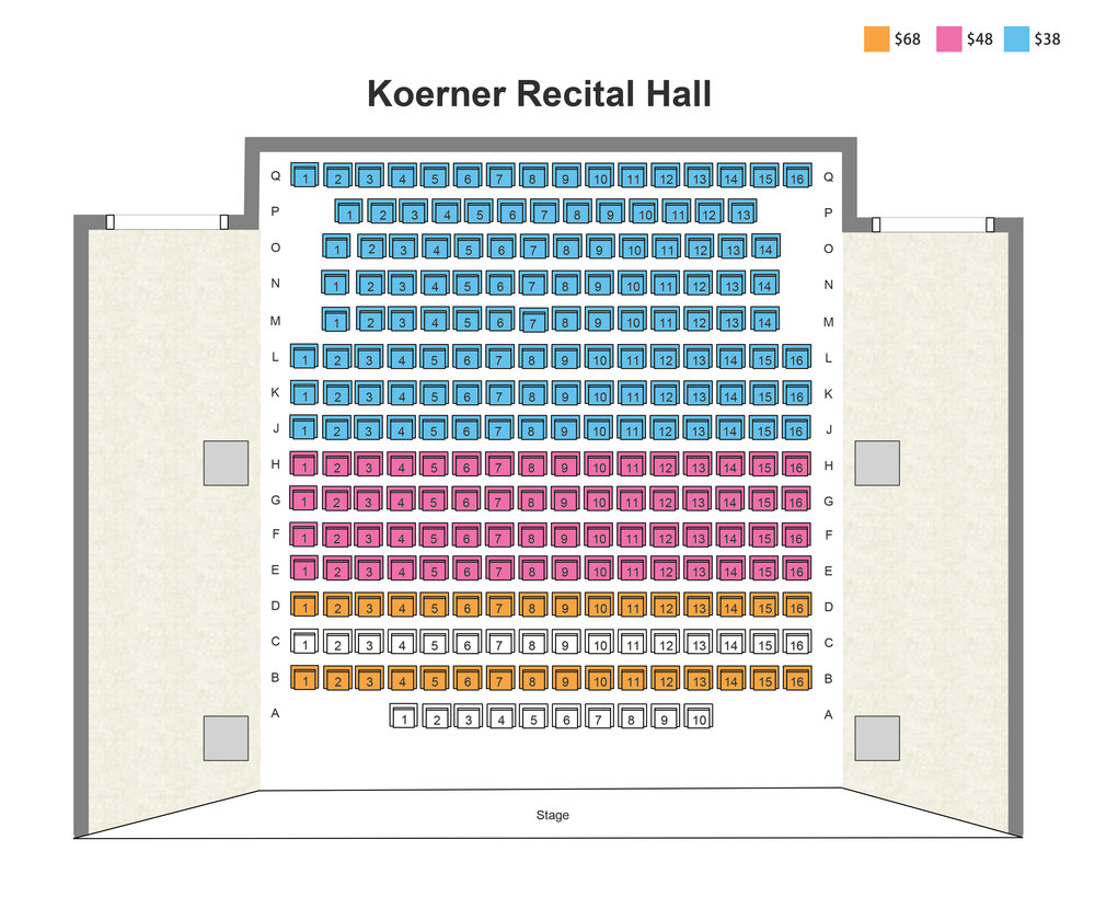 Koerner Recital Hall 票图 Seating Map