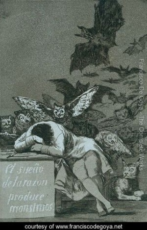 Goya: The sleep of dreams creates monsters.   Dylan: 'two wicked birds of prey that pick up on his breadcrumb sins..