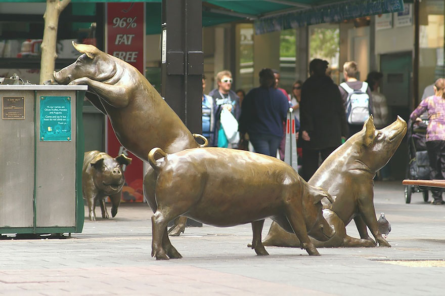 Rundle Mall Pigs, Adelaide, Australia.