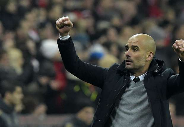 Pep Guardiola festeja el triunfo frente a la Juventus