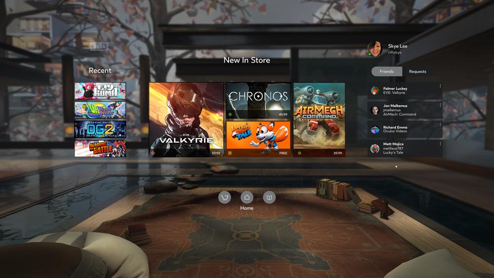 Vista del Oculus Home rediseñado