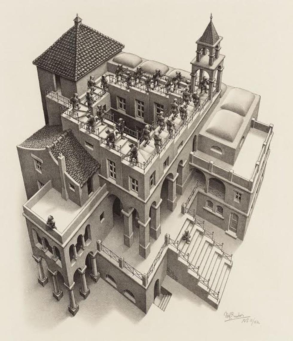 Ascending and Descending, 1960 - Unas escaleras que suben y bajan al mismo tiempo, independientemente del sentido en el que se recorran. Reforzada por un extraordinario trabajo arquitectónico que recuerda al de un templo o monasterio.