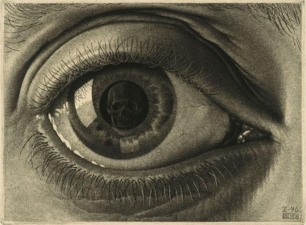 """Eye, 1946 - Escher dibuja su propio ojo reflejado en un espejo del baño, a través de esta reflexión, decide colocar un cráneo para recordarnos que """"todos acabamos frente a frente con la muerte, lo queramos o no"""""""