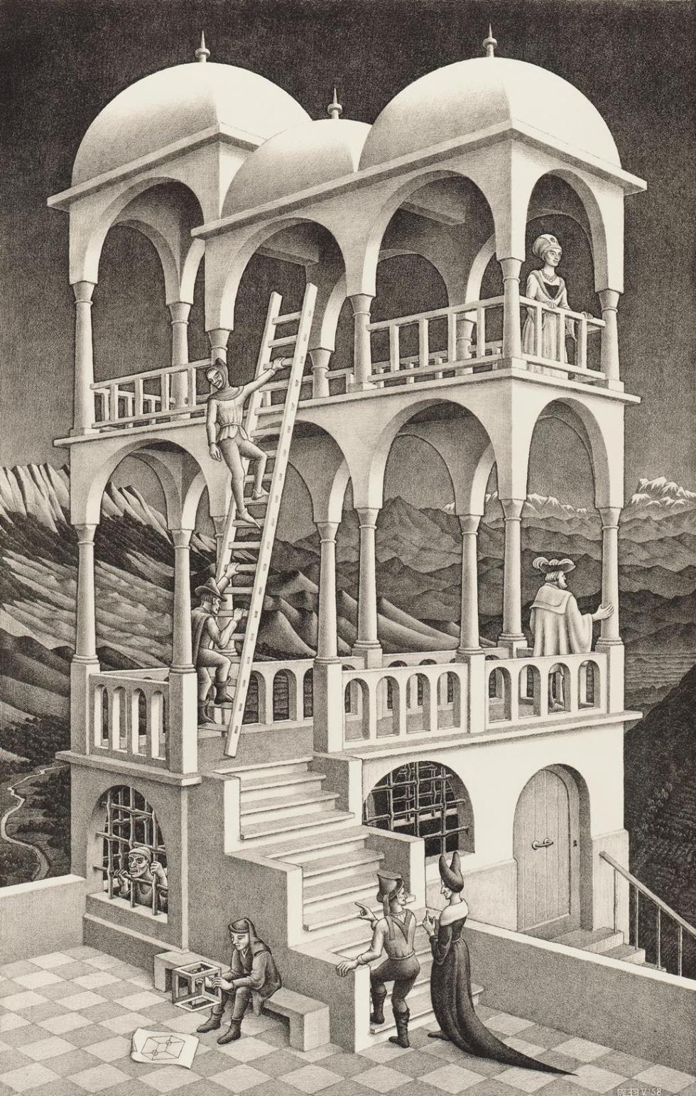 Belvedere, 1958 - Una de las arquitecturas imposibles más celebradas de Escher, fíjense bien, el artista usótécnicas de dibujo en dos dimensiones para causar extrañeza a una construcción aparentemente realista.