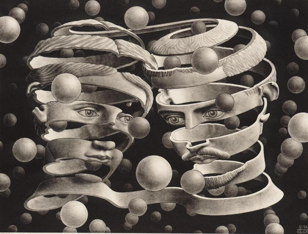 """Bond of union, 1956 - Escher lo explicaba así: """"Como banda sin fin que entrelaza las dos frentes, representa la unidad de lo dual. La impresión de corporeidad la refuerzan unas esferas que flotan enfrente, detrás y dentro de los huecos rostros"""""""