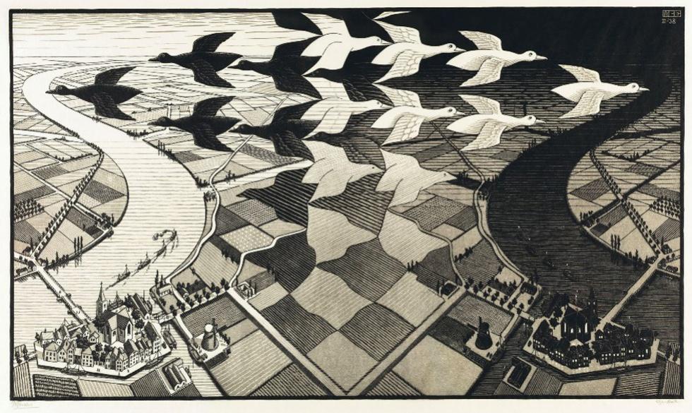 Day and night, 1938 - Dos campos de cultivo simétricos, uno de noche y otro de día, que se convierten en aves blancas y negras que los sobrevuelan en formaciones contrarias. También se ven unos huecos que se difuminan y se convierten en los pájaros de signo contrario y en los campos del lado opuesto.