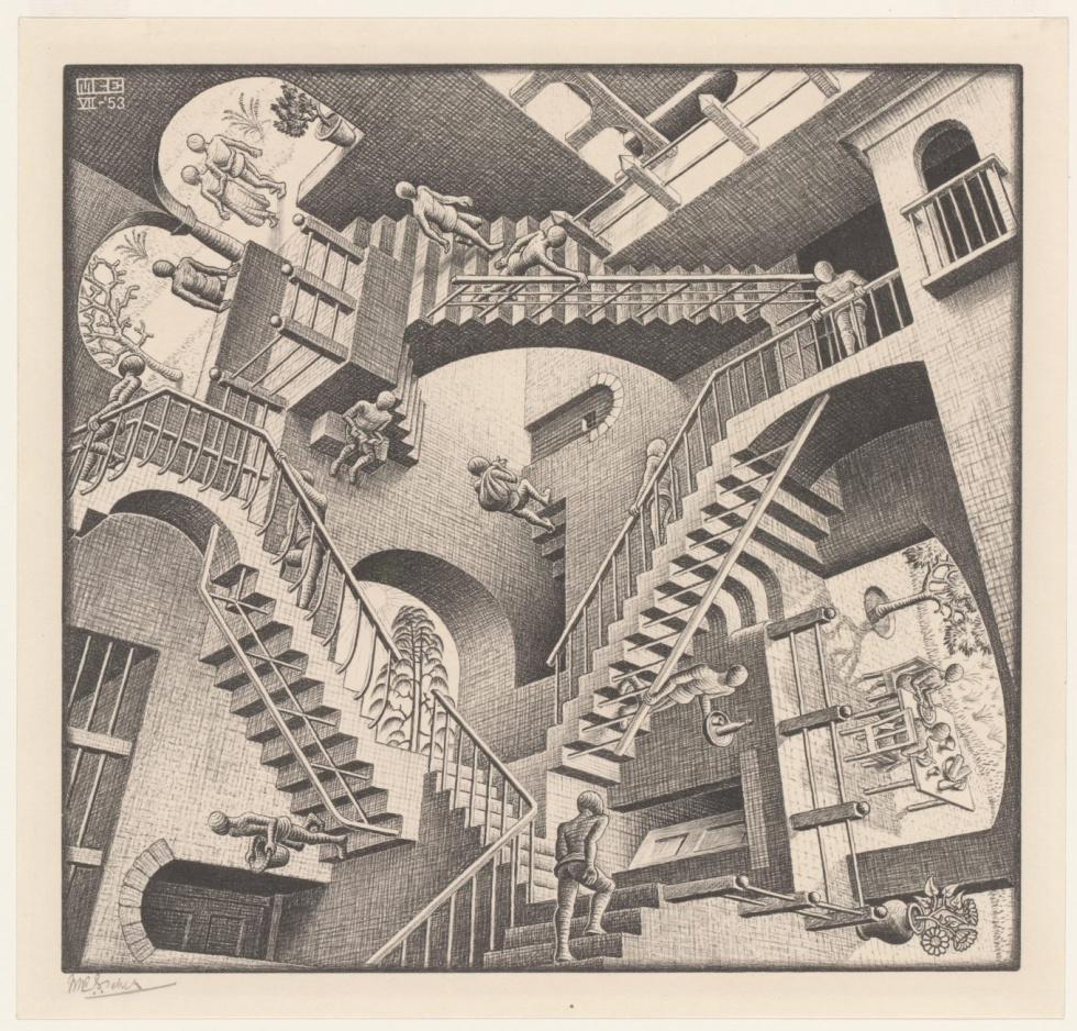 Relativity, 1953 - En esta ocasión, con lo que juega Escher es con la gravedad, que se encuentra perturbada en esta compleja construcción arquitectónica.