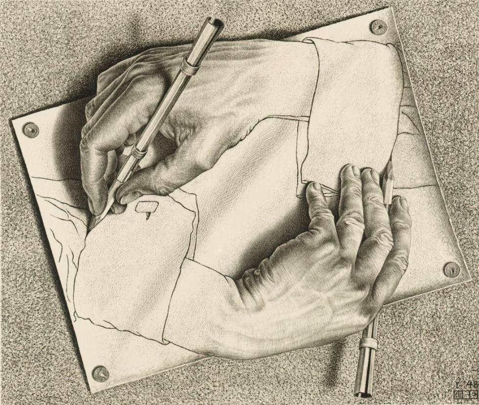Drawing hands, 1948 - La más famosa ilustración de loop infinito circular pero con una interpretación donde entra en juego el tema de la creación artística.