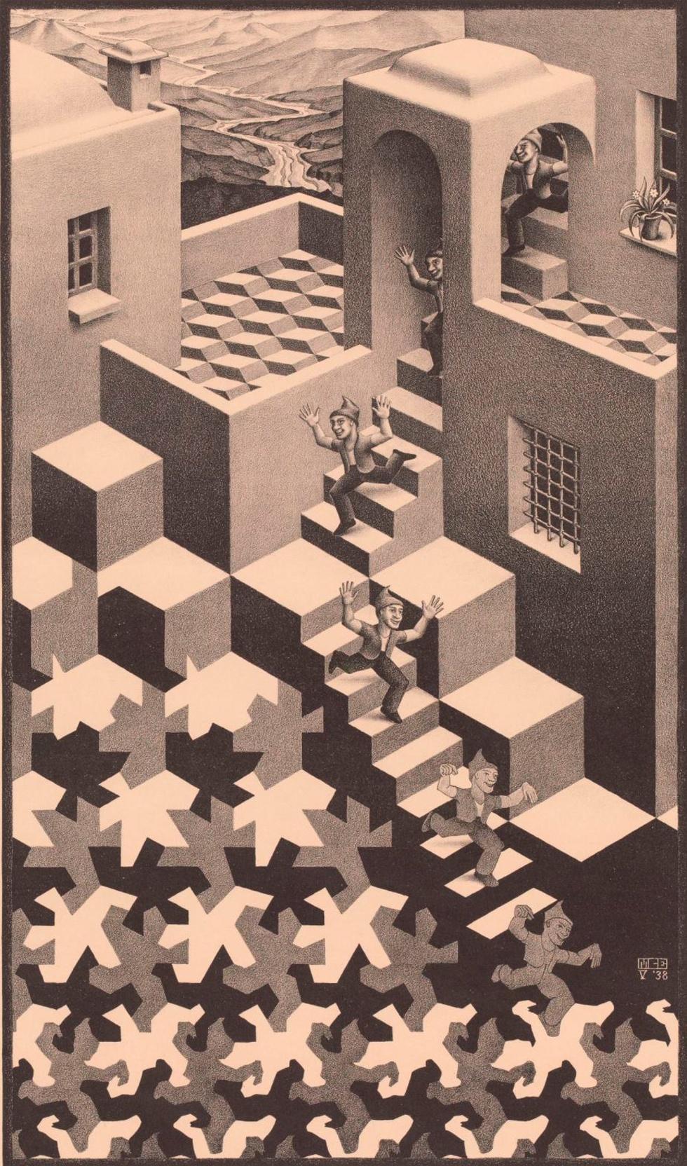 Cycle, 1938 - Una de las confusiones más populares entre bidimensionalidad y representaciones tridimensionales de Escher, que aquí muestra a un mozo que baja una escalera y acaba desdibujando su forma hasta insertarse en un dibujo plano con figuras cúbicas tridimensionales.