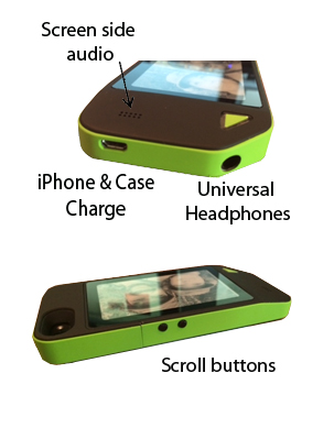 lithocase prototype scroll buttons universal headphones iphone case charging screen side audio pilot run manufacturing engineering hardware electronic