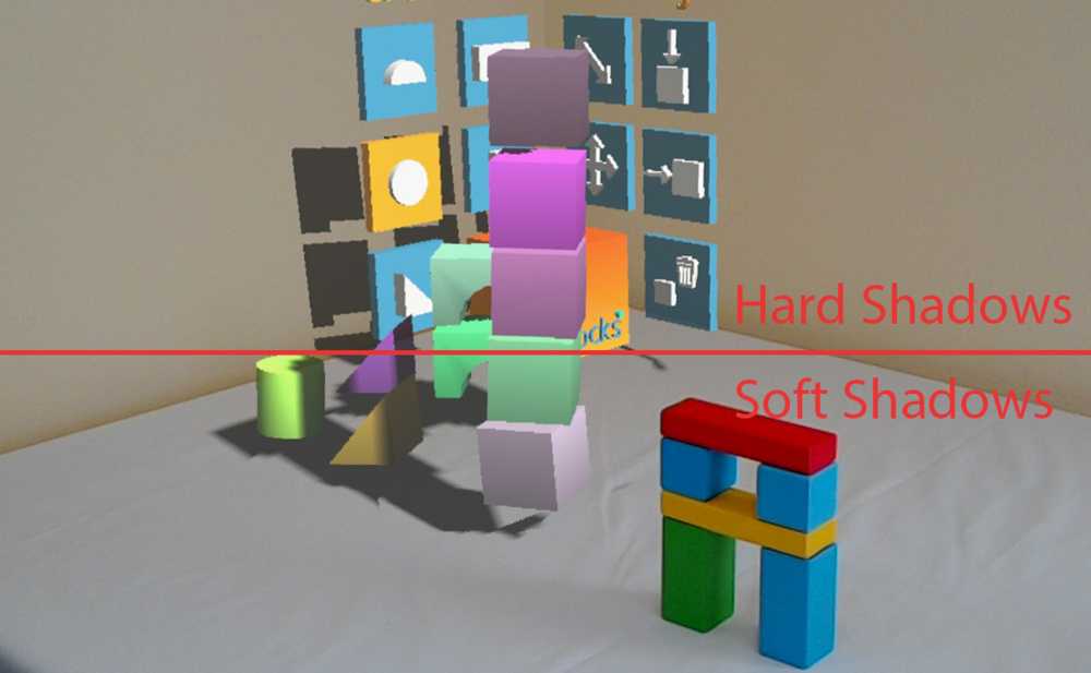 Holographic shadows side-by-side with real shadows from real blocks.