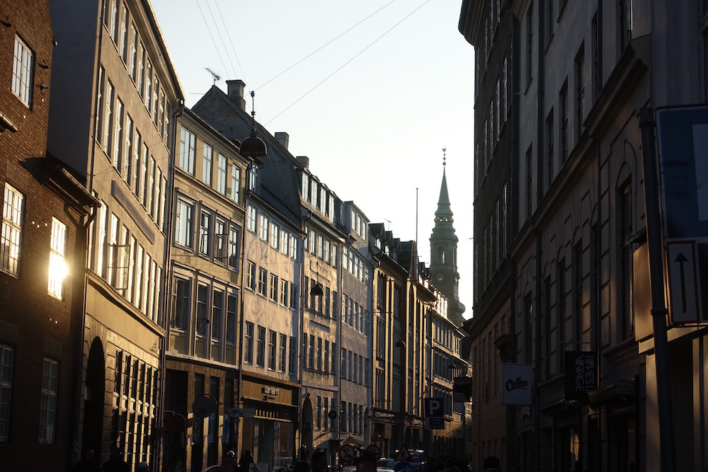copenhagen streets at sunset