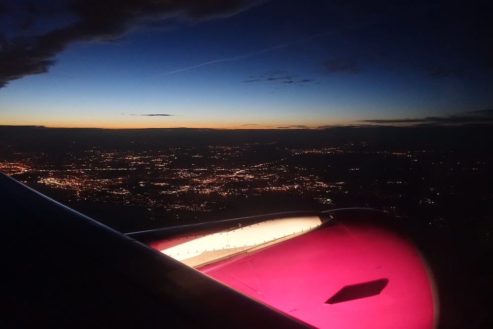 WOW Airlines jet engine in flight