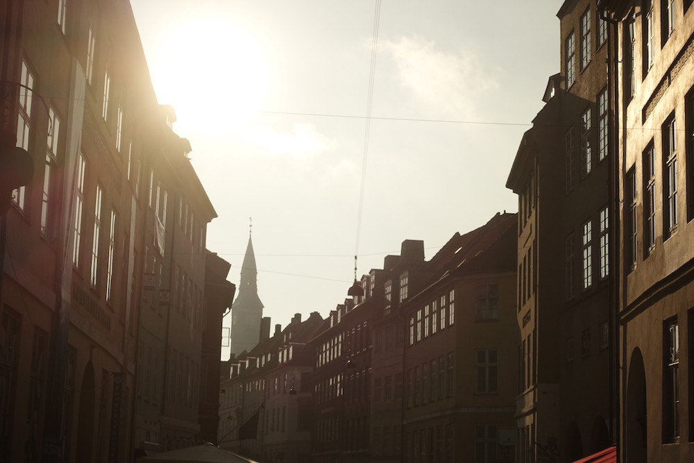 streets of copenhagen at sunset