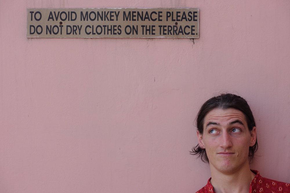 chris under the monkey menace sign