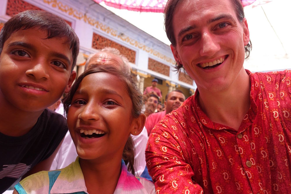 chris with kids in haridwar